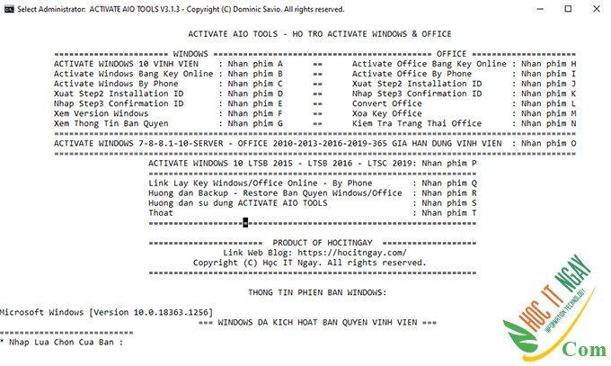 ACTIVATE AIO TOOLS 3.1.3 – Tool Active Kích Hoạt Windows & Office Mọi Phiên Bản